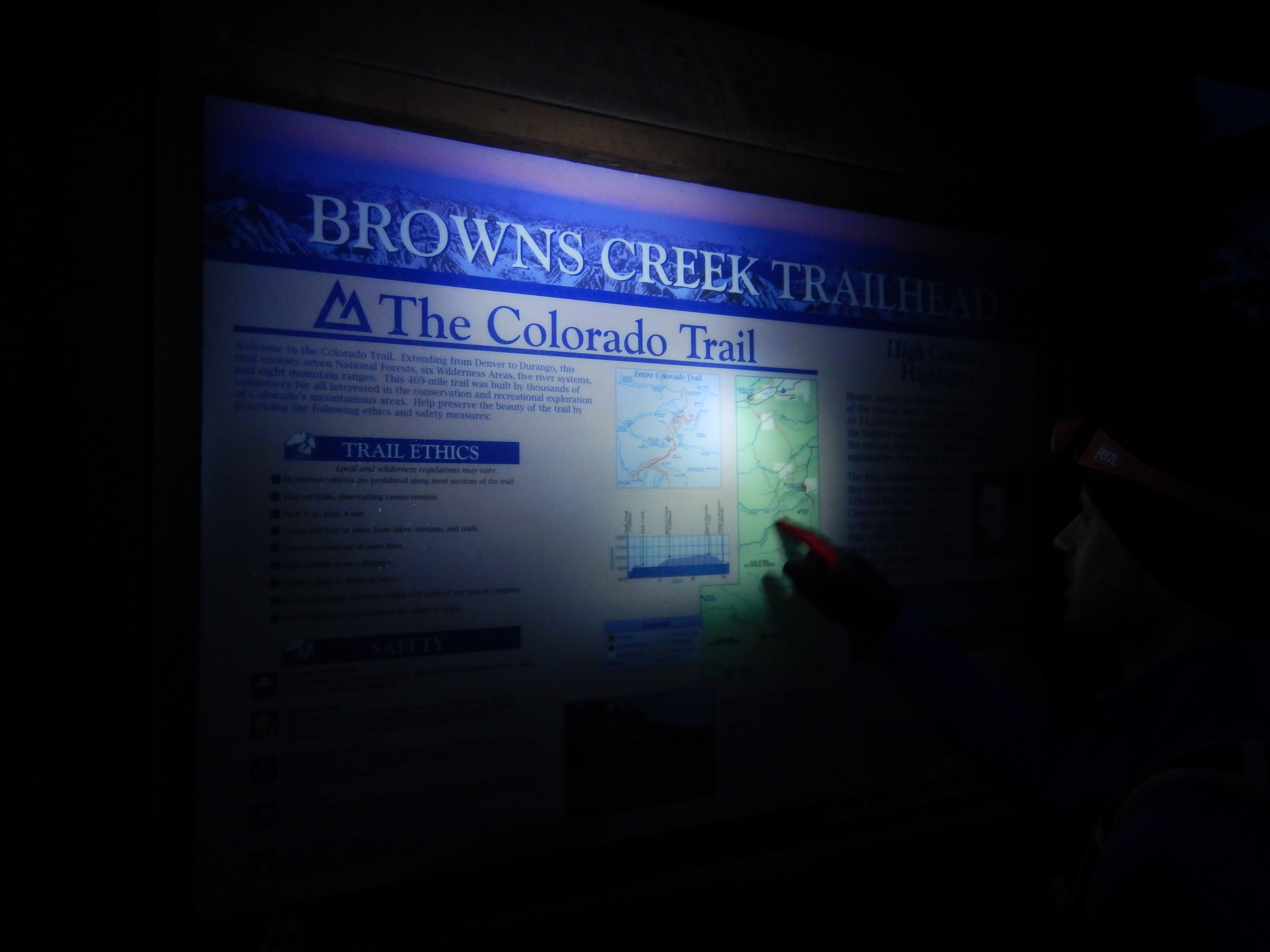 Detailed Browns Creek Trailhead sign