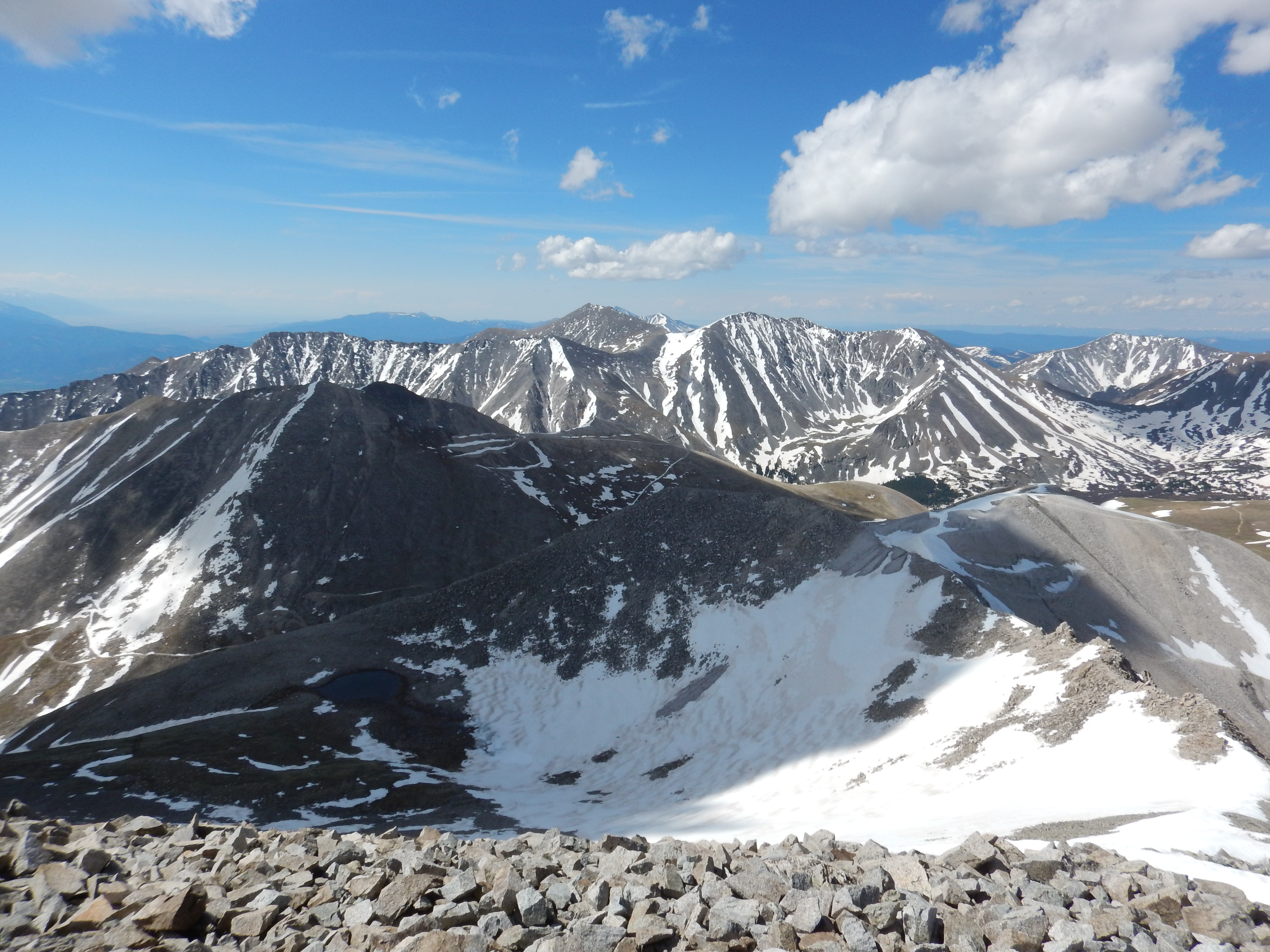 View of Mt. Shavano and Tabeguache from Mt. Antero.